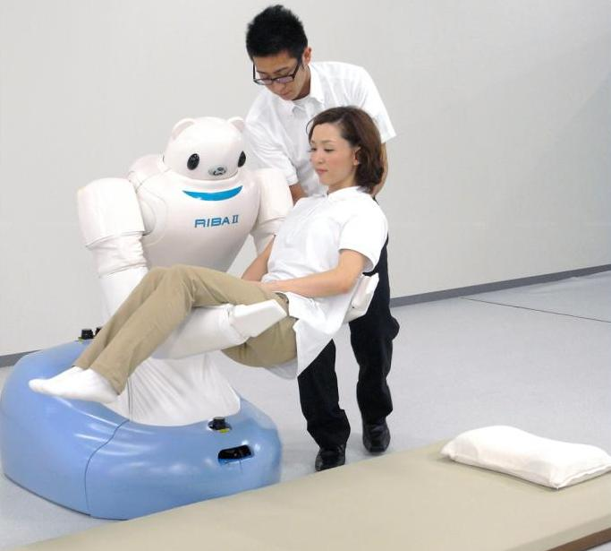 RIBA-II can lift a patient from a floor-level Japanese futon. Photo credit: RIKEN