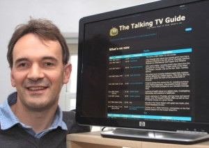 Ian Sharpe with his talking television programme guide for visually impaired people. (Credit: iomtoday.co.im)