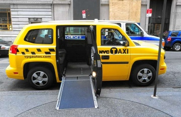 nyc officials unveil new accessible taxi. Black Bedroom Furniture Sets. Home Design Ideas