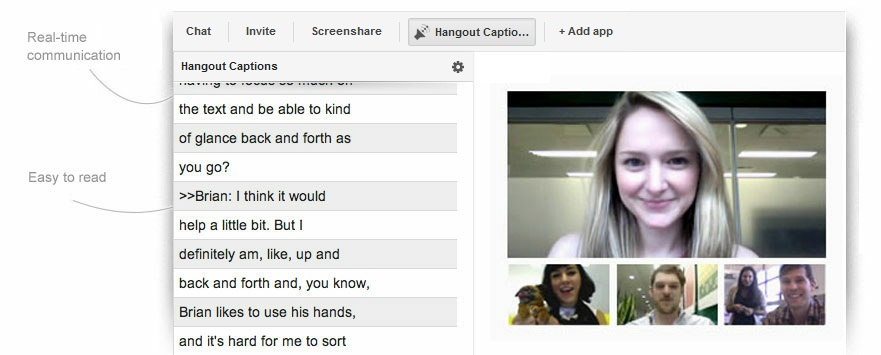 Hangout Captions app