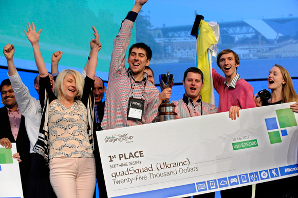 Team quadSquad from Ukraine celebrated its first-place win in the Software Design category at the Imagine Cup 2012 Worldwide Finals in Sydney, Australia. (Photo credit: Microsoft)