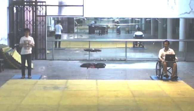 One of the two quadrotor drones seen here is controlled by thoughts alone. (Photo credit: Zhejiang University, Pervasive Computing Group CCNT Lab)