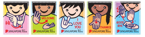 Singpost introduces new stamps featuring greetings in sign language the new stamps feature greetings in sign language photo credit singpost m4hsunfo