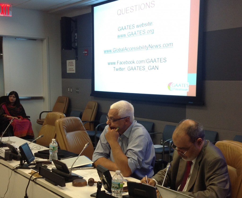 Mr. Shuaib Chalklen, Special Rapporteur on Disability of the UN Commission for Social Development (left) and GAATES President Mr. Mukhtar AlShibani at the GAATES Side Event - COSP 6.
