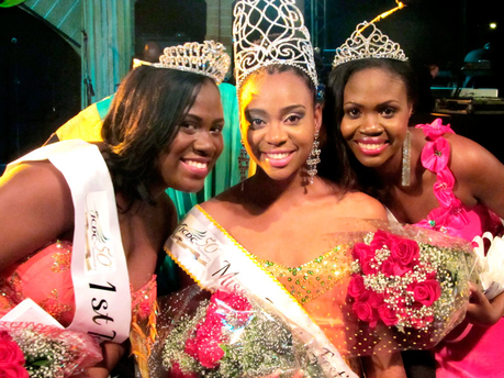 Miss Jamaica Festival Queen 2013, Krystal Tomlinson (centre), flanked by first runner-up Miss St Mary, Nordia Marie Antwine (left), and Evonie Blake, Miss St Elizabeth, at the crowining at the Ranny Williams Entertainment Centre.  Photo: Marcia Rowe/The Gleaner