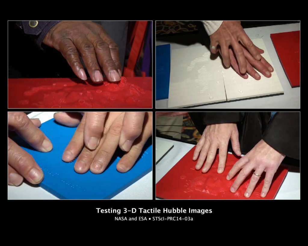 People with vision disabilities using their fingers to explore 3-D tactile representations of images taken by NASA's Hubble Space Telescope.Photo: NASA, ESA, and M. Estacion (STScI)