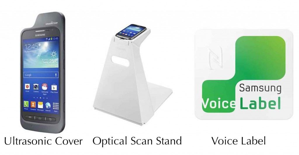 New assistive technology accessories, Ultrasonic Cover (left), The Optical Scan Stand, Voice Label