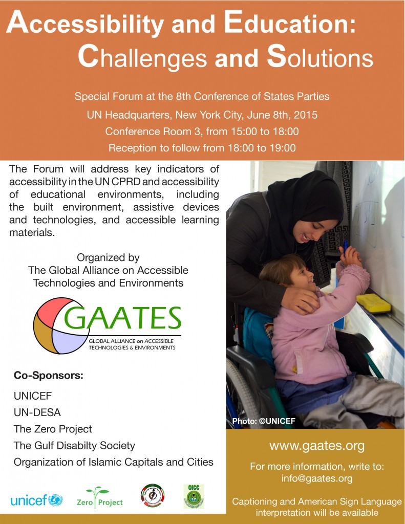 Flyer advertising the GAATES event at COSP8. Flyer contains same information as body of webpage