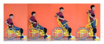 Boy in a wheelchair in difference seating positions