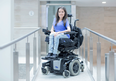 Accessibility advocate and entrepreneur Maayan Ziv photographed on a wheelchair ramp at Toronto's MaRS building. Photo: Lucas Oleniuk/Get Stock