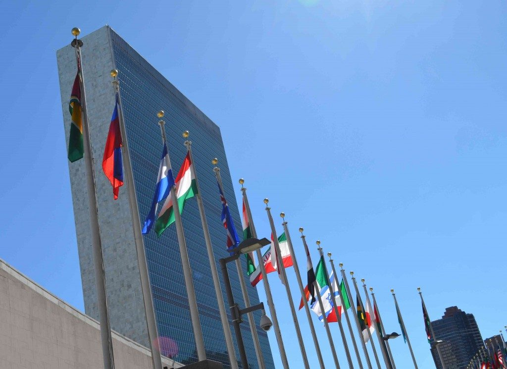 Flags in front of UN Headquarters