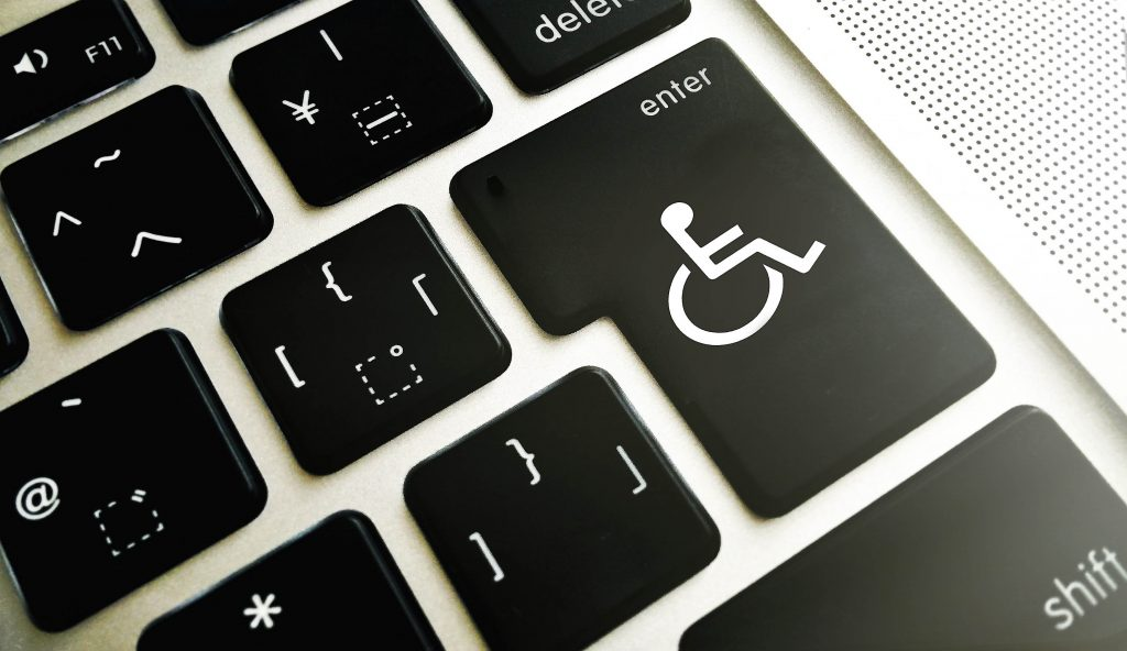 Disability sign in place of enter key