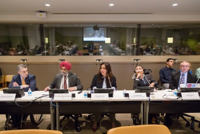 Photo of 2017 GAATES CoSP CoSponsored event on Smart Cities for All which includes Commissioner Victor Calise of the City of New York, Her Excellency Ambassador Lana Nusseibeh, Dr Victor Pineda of GAATES and World Enabled, and James Thurston of G3ict.