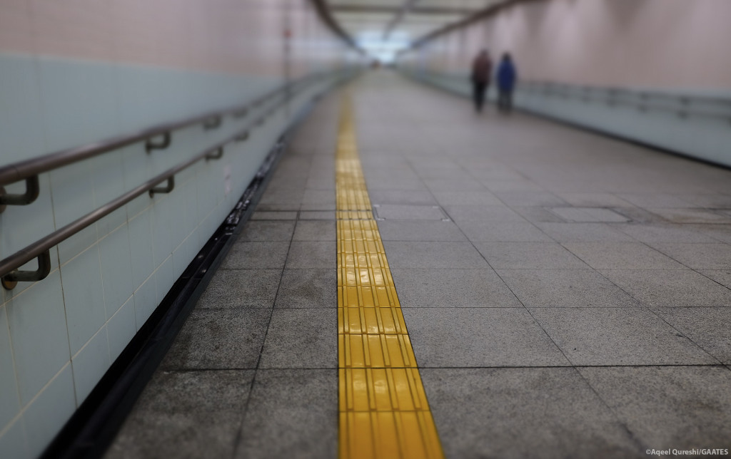 Both side handrails with guidle block at Ueno Station