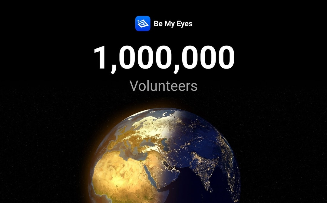 A half-lit globe is pictured before a dark background below the Be My Eyes logo showcasing the exciting new number of volunteers - one million!