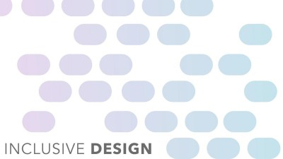 Image with blue and pink pattern of dots and text Inclusive Design in Black.