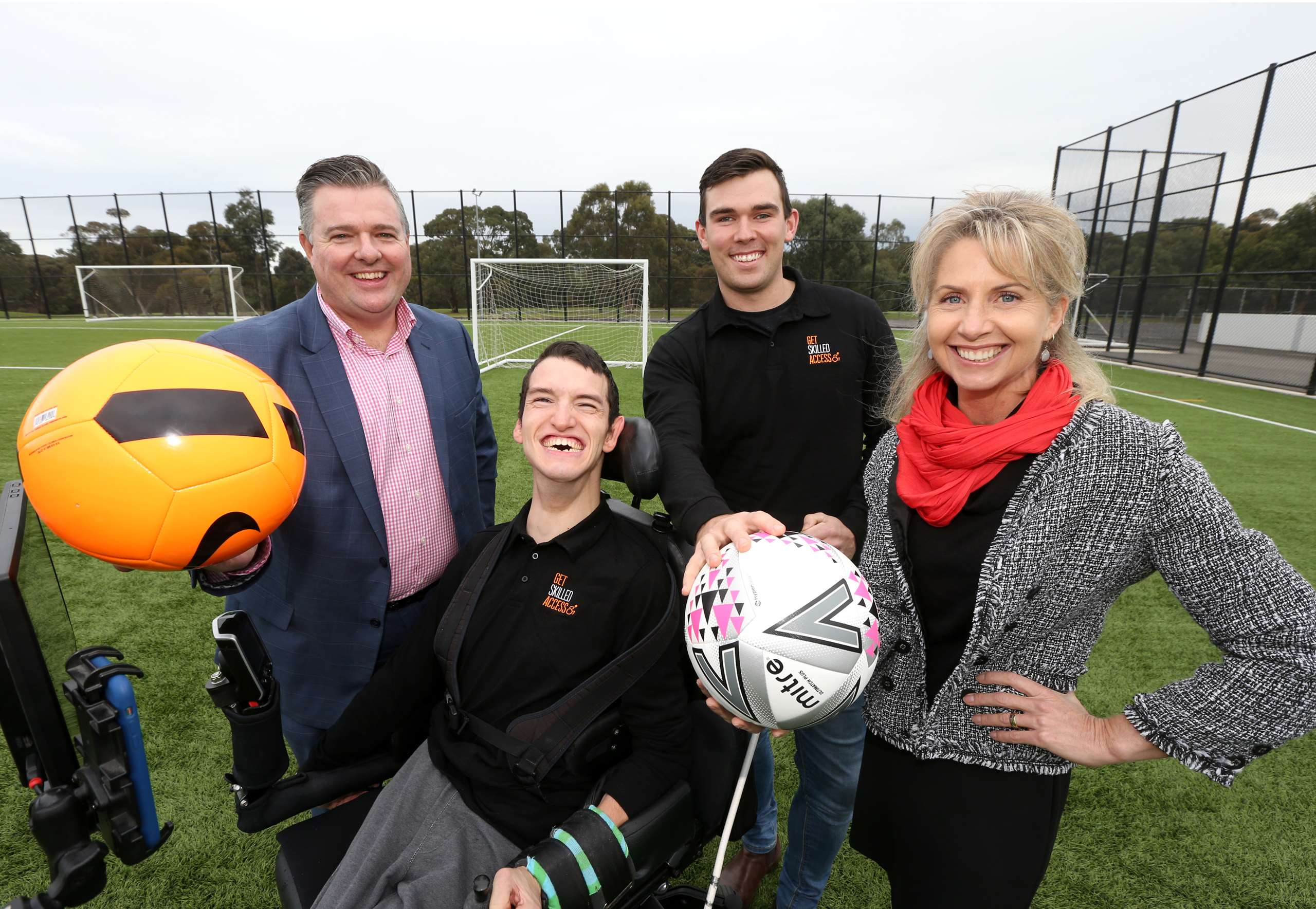 (L-R): Cr Anthony Aitken, Noah Callan (Get Skilled Access Associate), Ben Pettingill (Sport4All Project Coordinator at Get Skilled Access) and Greater Geelong Mayor Stephanie Asher