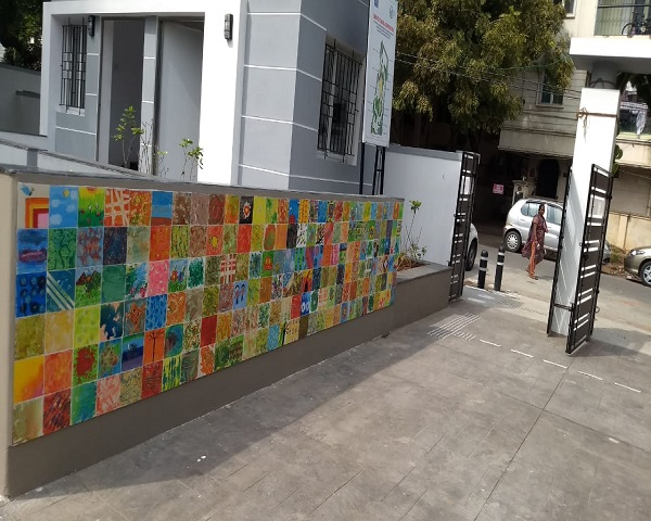 Painted tiles on a street in Chennai