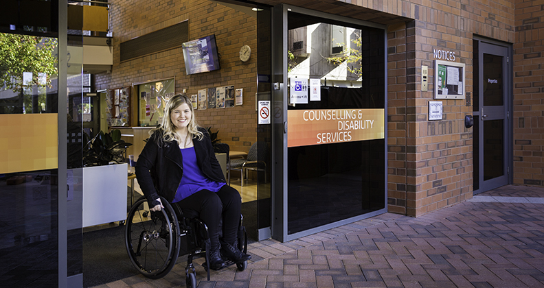 Curtin student at the Counselling and Disability Services building, on the Bentley Campus. Photo: Curtin University