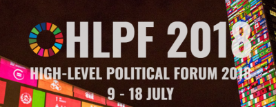 Photo of the 2018 HLPF announcement showing the dates from July 9-18.