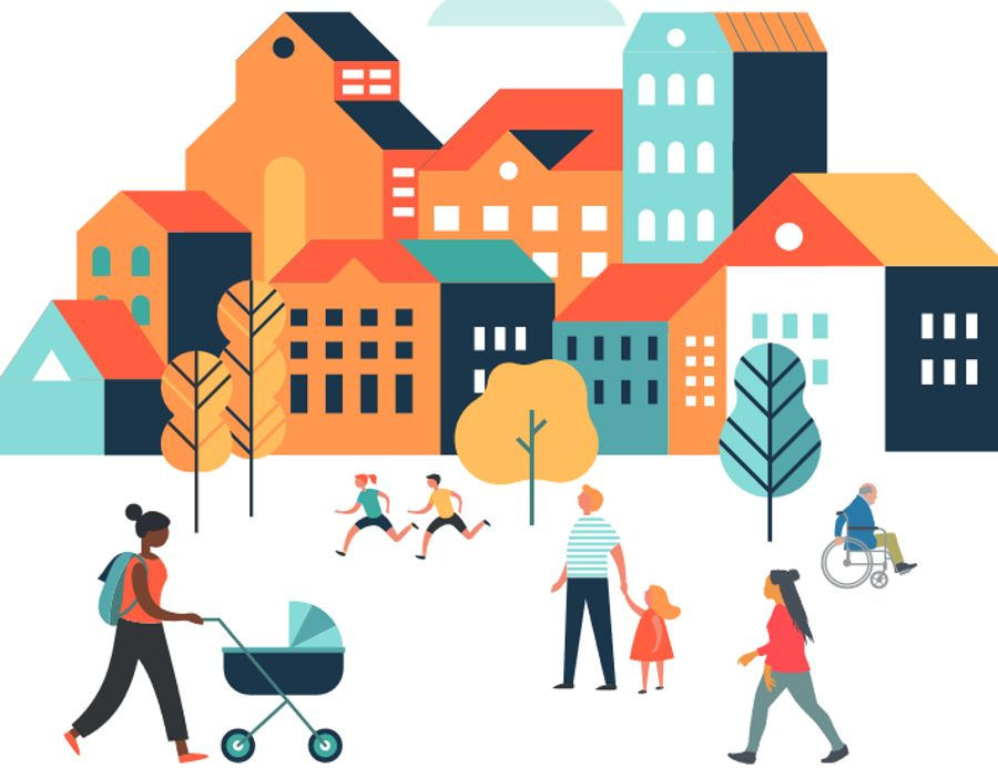 Graphic art comprising of a row of homes. Infront of them are two children running, a parent walking with their child and a woman carrying her baby stroller.