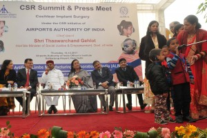 Pictured on stage from Left to Right are Dolly Chakrabarty; Prabodh Seth; Dr. Thawarchand Gehlot; Shakuntala D Gamlin; Guruprasad Mohapatra; Dr. Sarin