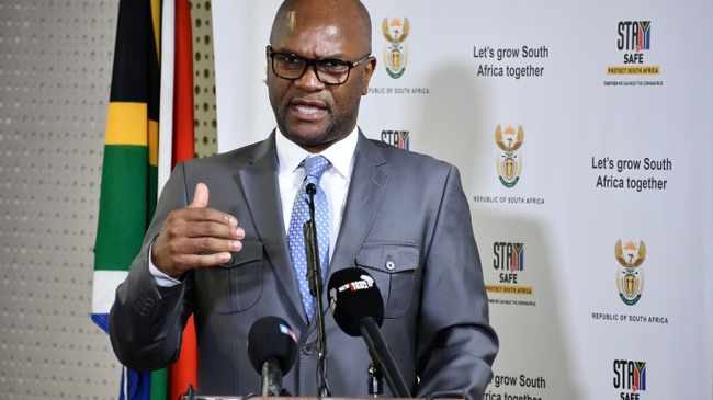 South Africa's Minister of Sport, Arts and Culture Nathi Mthethwa speaking