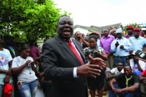 Morgan Tsvangirai addresses party supporters at the home of Budiriro Member Coster Machingauta of parliament
