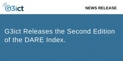 G3ict logo. Text G3ict releases DARE Index 2020