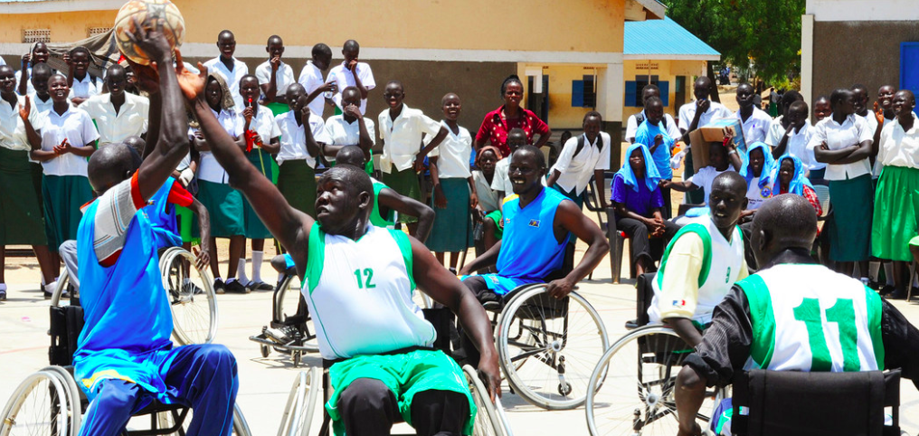 UNMISS/Isaac Billy: Athletes with disabilities play wheelchair basketball in South Sudan. (file 2012)
