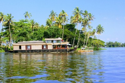 Photo of a houseboat in the backwaters of Kerala, India