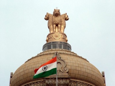 Indian flag in front of the Indian parliament