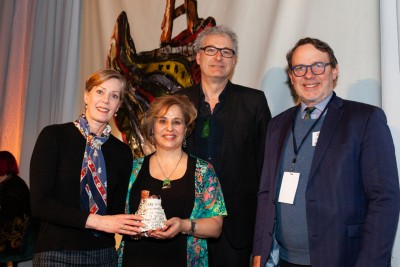 Pascale Parenteau, Lester McGrath and Patricia Barker from Royal New Zealand Ballet accepting the award with Creative New Zealand Chief Executive Stephen Wainwright.