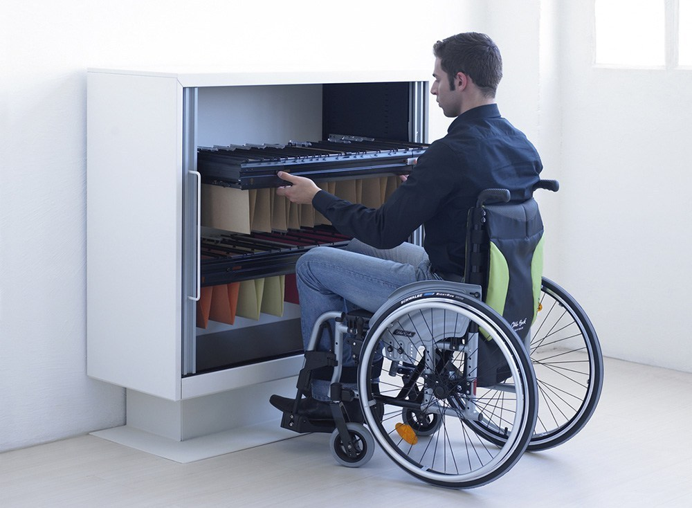 A worked on a wheelchair