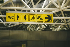 Signs for washroom facilities for women, men, wheelchair accessible and changing tables