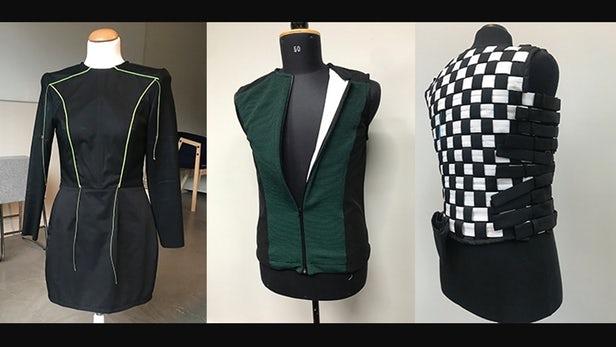 three vests on display
