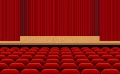 Theatre hall with red seats