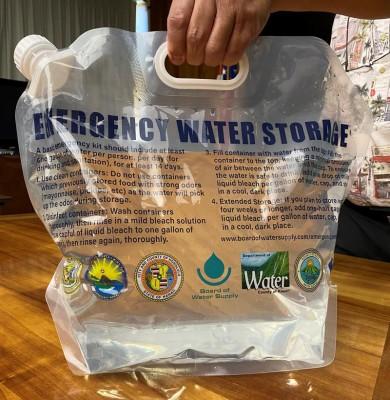 Plastic jug of water